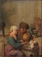 Ecole HOLLANDAISE du XIXème siècle, dans le goût d'Adriaen van OSTADE  Couple dans une taverne.  Panneau de chêne, deux planches, renforcé.  24 x 18 cm.  Fente.    Voir la reproduction