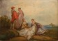 Ecole FRANCAISE du XIXème siècle, dans le goût d'Antoine WATTEAU  Scènes galantes dans un paysage.  Paire d'huile sur panneau.  24 x 33,5 cm.