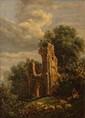 Ecole FRANCAISE  Deux paysages.  Deux huiles sur panneau formant pendant.  32 x 17 cm.      Voir la reproduction