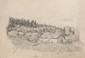 Edmond PETITJEAN (1844-1925)  Ferme devant les sapins, le lapin lié 1862.  Mine de plomb, monogrammé en bas à gauche et daté en bas à droite.  27 x 35 cm.
