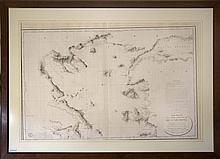 Carte Reduite de la Partie Septentrionale de lArchipel redigee dapres les travaux executes, dan les annees 1818 et 1819 par M. Gauttier Capitaine de Vaisseau Seconde par M. Benoist..., 1827 Attractive French nautical chart of the coast and the