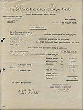 Rhodes, 1947. Rodi - Egei. Two (2) Official Insurance documents for T.E.M.I (Tobacchi Egei Manifattura Italiana), provided by