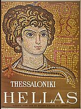 THESSALONIKI - HELLAS / Mosaik von der St. Georg-Kirche (V. Jahrh.), 1956, ed. of Greek National Tourism Organization, in German, No. 7 - 15000. Dim.58x78cm. In nice wooden frame. Very Fine.