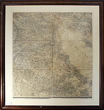 Thermaikos Gulf & Thessalia, c.1900. Greek & turkish placenames & landmarks in greek language. Road network & detailed relief shown pictorially. Map dim. 48x52cm. In wooden frame.