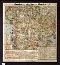 Makedonien, Altserbien und Albanien, Peuker Karl, Artaria, Vienna 1903,. scale 1:864000. Rich informative map of the Balkans, released at a time of tension & national rivalries. Indication of the seats held by patriarchate- and exarchate-bishops