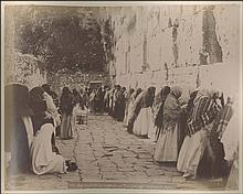 BONFILS, ZAGKAKIS, RUBELLIN. c.1870. Large photographic album with fourty eight (48) albumen photographs dim.~28x23cm. Views from JERUSALEM (31), JAFFA (2), DAMASCUS, BETHLEHEM, SIDON, EPHESE (3), RHODES.