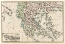 Copper engraved map of Greece, Asia minor, southern Balkans and Crete