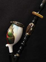 Porcelain pipe. Early 20th cent. Beutifully hand-painted