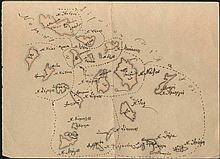 1890's hand-drawn map of Cyclades islands.