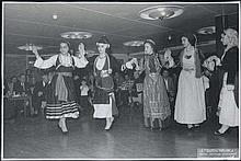 (Folk-dance by a group of 5 women in national costumes on the s.s.