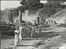 Ceremony of the lighting of the Olympic Torch at ancient Olympia