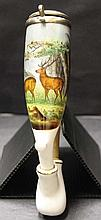 Porcelain pipe. Late 19th. Austria. With windcap, lidded.