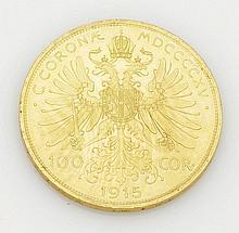 100 Kronen Österreich, 1915. 900er GG. D. 3,7...