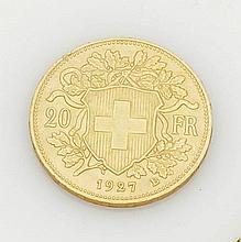 20 Franken 'Gold Vreneli' Schweiz, 1927. 900e...