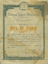 Certificate Printed on Silk - Raising Charity for Children Orphaned by Pogroms in Russia - South Africa, 1906