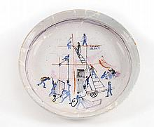 Painted Ceramic Plate - Eva Samuel, 1947 - in Honor of Architect Richard Kaufmann