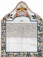 Colorful Ketubah on Parchment - Ancona, 1844