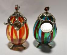 Murano Art Glass Silver Clown Figurines.