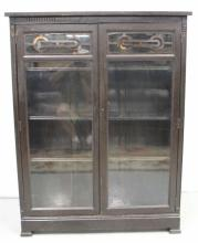 Antique Mahogany Curio Cabinet Bookcase