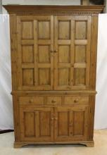 Custom Antique Wood Pine Armoire Cabinet