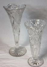 Group of 2 Cut Glass Trumpet Form Vases.