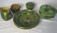 5 Pieces French Provencal Jaspe Pottery - Green
