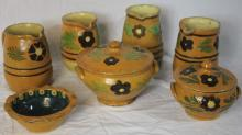 7 Pieces French Provencal Jaspe Pottery