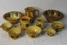 10 Pieces French Provencal Jaspe Pottery