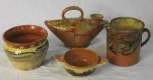 4 Pieces French Provencal Jaspe Pottery