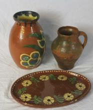 3 Pieces French Provencal Jaspe Pottery