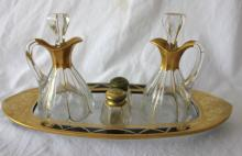 Vintage Bohemian Glass Cruet Set