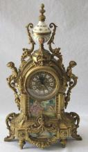 Antique Gilt Bronze & Austrian Enamel Mantle Clock