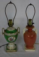 Two Porcelain Urn Mount Table Lamps