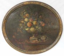 Antique Italian Oval Floral Still Life