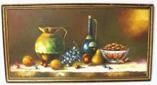 Still Life Fruits Signed Illegible, Oil on Canvas