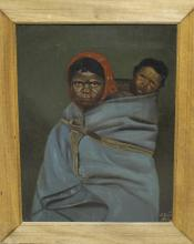 Oil on Board of Mother and Child