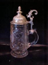 Beer stein with pewter lid cut crystal glass