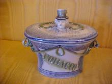 Porcelain tobacco jar with German bust handle