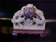 Carved soapstone oriental dragon figure