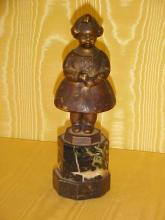 Bronze girl figure signed,