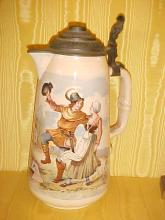 Mettlach - Villeroy Boch Large hand painted porcelain stein pitcher