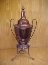 Early pewter and copper miniature samovar