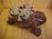 Turquoise matrix carved frog