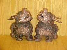 Pair of solid silver chinese 19th century foo dogs incense burners