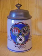 German porcelain stein with pewter lid