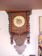 German walnut open pendulum wall clock
