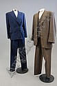 Three 1940s mens suits, comprising: blue wool by