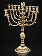 LARGE BRASS POLISH CHANUKAH MENORAH.