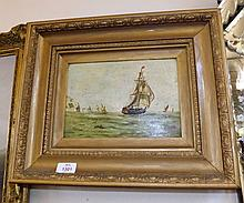 F Moore, Signed Oil, A Sailing Ship of the Coast