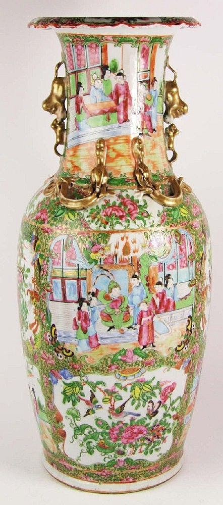 A Chinese Canton famille rose vase, with allover